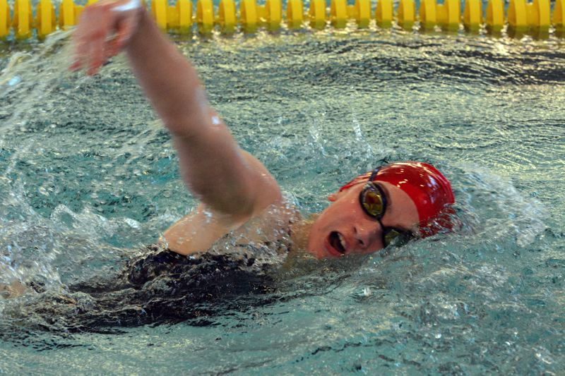 by: TIMES PHOTO: MATT SINGLEDECKER - Westview freshman Laila Kayffes won the 50 free and was second in the 200 free for the Wildcats who beat Lincoln on Thursday.