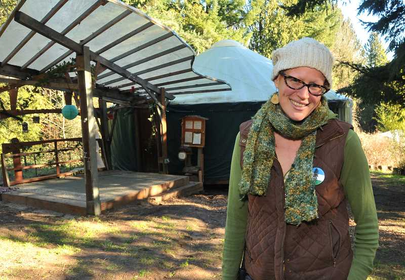 by: REVIEW, TIDINGS PHOTOS: VERN UYETAKE - Brenna Bell has played a key role in making Tryon Life Community Farm a reality. Thanks to a new yurt, the farm is better than ever.