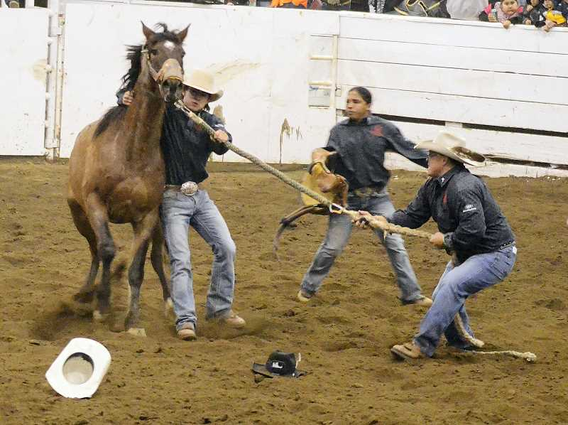 by: PHOTO BY LINDA LARSON - Jason Smith of Warm Springs (right) works in the shank position while Colton David (left) and Bear Spino (middle) assist during the Professional Wild Horse Racers Association national championship Saturday night at the Jefferson County Fair Complex.