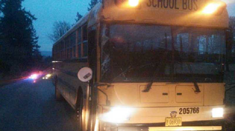 by: CLACKAMAS COUNTY SHERIFFS OFFICE - Molalla school bus involved in Monday's accident after being freed of power line