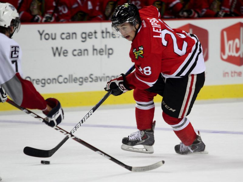 by: TRIBUNE PHOTO: JONATHAN HOUSE - Forward Brendan Leipsic helps to lead the Portland Winterhawks attack that is bolstered by an improving defense and sturdy goaltending.