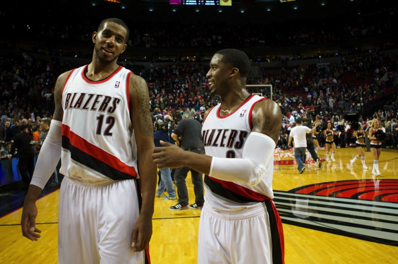 by: TRIBUNE PHOTO: JAIME VALDEZ - LaMarcus Aldridge (left) and Wesley Matthews walk off the court after the Trail Blazers held on for a 106-103 victory over Toronto.
