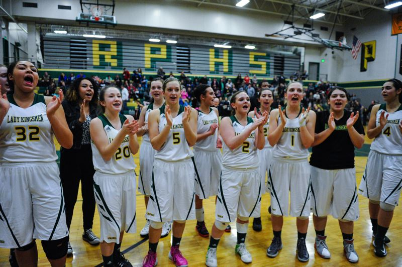 by: JOHN LARIVIERE - Weary, but proud, Putnam players took a moment to thank their fellow students for their support following last Friday nights 43-36 win over Liberty. The Kingsmen are off to their best start in girls basketball in decades.