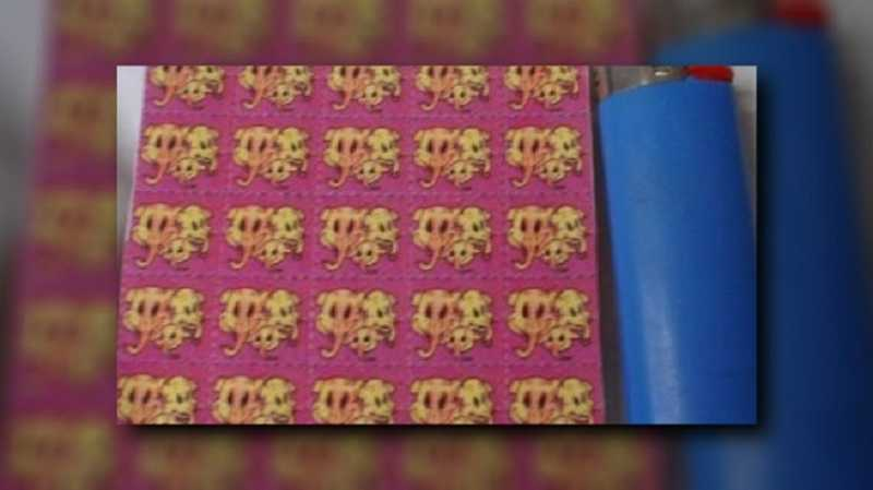 by: COURTESY OF KOIN 6 NEWS - The hallucinogenic drug 25i, which is similar to LSD and often is found on blotter paper like this, was found in possession of two Sherwood girls who overdosed on the drug over the weekend.