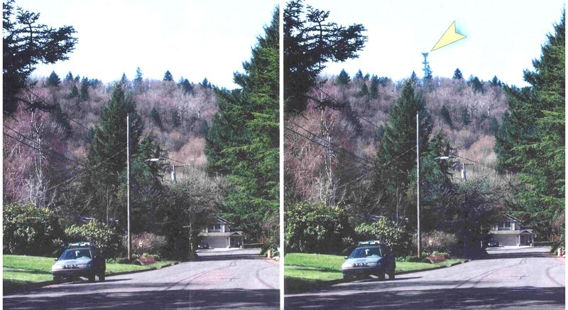 by: FILE PHOTO - This is a photo illustration of what Gresham Butte looks like without the 140-foot communication tower (left) proposed by the city of Portland, and how the skyline would change of the tower were built (right).