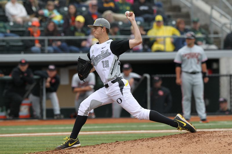by: COURETSY OF ERIC EVANS - Cole Irvin, Oregon Ducks lefty who was 12-3 in 16 starts last year, will undergo Tommy John surgery and miss the 2014 season.