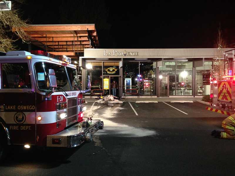 by: SUBMITTED PHOTO: GERT ZOUTENDIJK, LAKE OSWEGO FIRE DEPARTMENT - Firefighters had to respond in the middle of the night to put out a blaze at La Provence Restaurant, where a fire in a wall threatened major damage.
