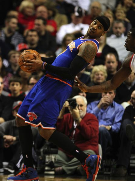 by: TRIBUNE PHOTO: JONATHAN HOUSE - Carmelo Anthony leads the New York Knicks into Wednesday's game against the Trail Blazers.