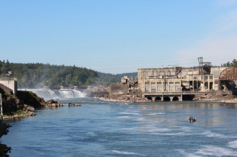 by: LUCILA CEJAS EPPLE/OPB - Willamette Falls and the old Blue Heron paper mill site.