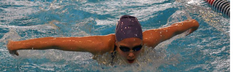 by: TIMES PHOTO: MATT SINGLEDECKER - Sunset girls swimmer Megan Lam won two events for the Apollos, including the 100 butterfly.