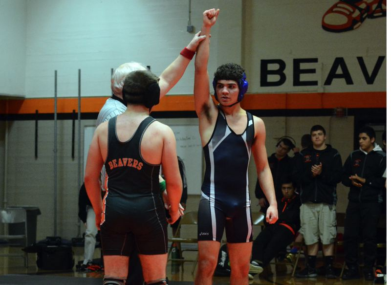 by: TIMES PHOTO: MATT SINGLEDECKER - Westview 160-pound wrestler Keivon Behbehani-Escobar took a come-from-behind win over Beaverton on Thursday for the decision victory.