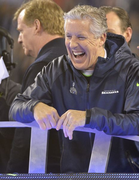 by: COURTESY OF MICHAEL WORKMAN - Seattle coach Pete Carroll celebrates the Seahawks Super Bowl victory Sunday evening.