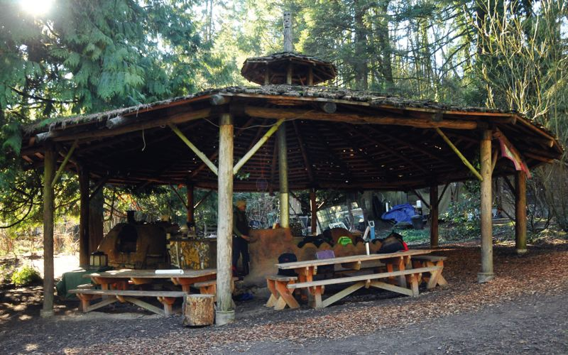 by: PAMPLIN MEDIA GROUP: VERN UYETAKE - The outdoor kitchen serves as a headquarters for the Mother Earth School at Tryon Life Community Farm. Its also used for workshops and cheese making.