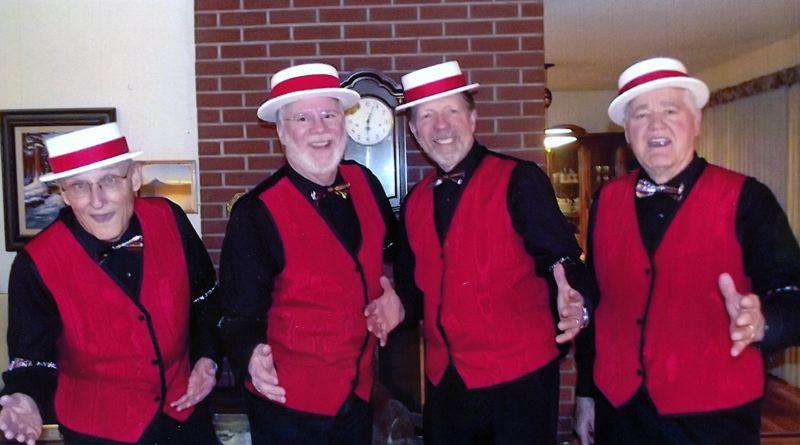 by: COURTESY PHOTO - (Left to right) Bill Vaughan, baritone, lives in Hillsboro; Gary Gale, lead singer, lives in Banks; Dave Muralt, bass, lives in Gaston; and Dave Osborn, tenor, lives in Cedar Mill. Together they make up the Tualatones.