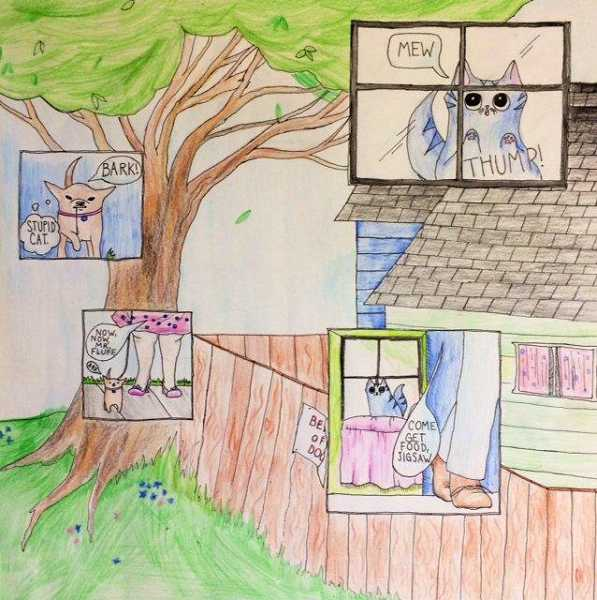 by: SUBMITTED PHOTO - Lakeridge Junior High seventh-grader Nicole Konicke earned a Gold Key for her comic drawing.