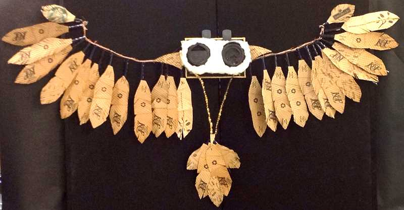 by: CONTRIBUTED - This piece is titled 'Coffee Gives Me Wings' and was created by Hanna Wood, a junior at Estacada High School. Wood utilized found objects for this piece.