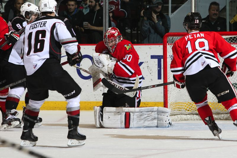 by: COURTESY OF CHRIS RELKE/VANCOUVER GIANTS - Winterhawks goaltender Corbin Boes makes one of his 30 saves Saturday night at Vancouver's Pacific Coliseum, as Portland wins 7-4 to set a franchise record of 16 consecutive victories.