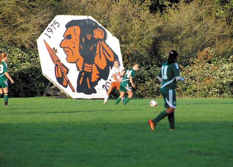 by: MOLALLA PIONEER FILE PHOTO - The image of the 'Indians' school mascot displayed on the Molalla High School girls soccer field