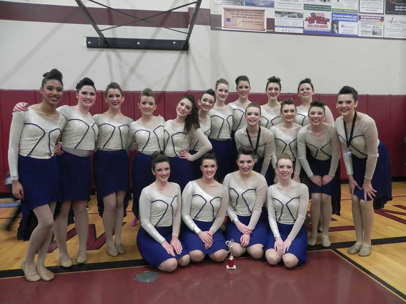 by: SUBMITTED PHOTO - The Wilsonville dance team took first place with its state routine Feb. 15 during a competition at Sherwood High School. Front row (from left): Kylie Whittaker, Shelby Powelson, Madeline Ochs and Kelsie Kaiser. Second row (from left): Gracie Roberts, Ally Jackson, Kayley Huber and Jordan Hayes. Back row (from left): Jasmine Strom, Katie Kays, Maria Ochs, Emily McKillip, Kylie Gelfand, Samantha Gieber, Emma Johnston, Anna Walter de-Perlet, Taylor Dorr and Courtney Whitaker.