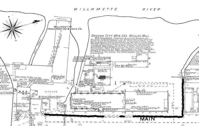 by: CITY OF OREGON CITY - A thick black line on a portion of this 1892 Sanborn map to show the route of the underground box flume running along Main and 3rd streets.