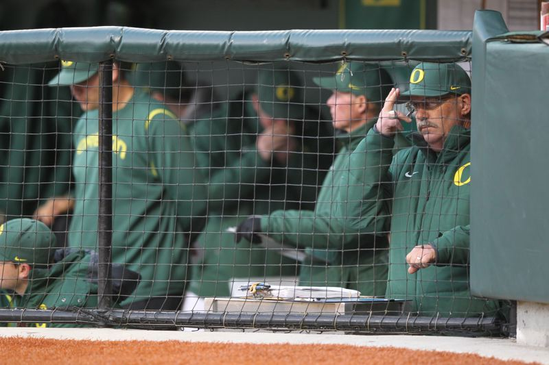 by: COURTESY OF UNIVERSITY OF OREGON - Oregon Ducks coach Geroge Horton reached the 900-career win mark on Monday, as the Ducks completed a four-game sweep at Hawaii to open the 2014 season.