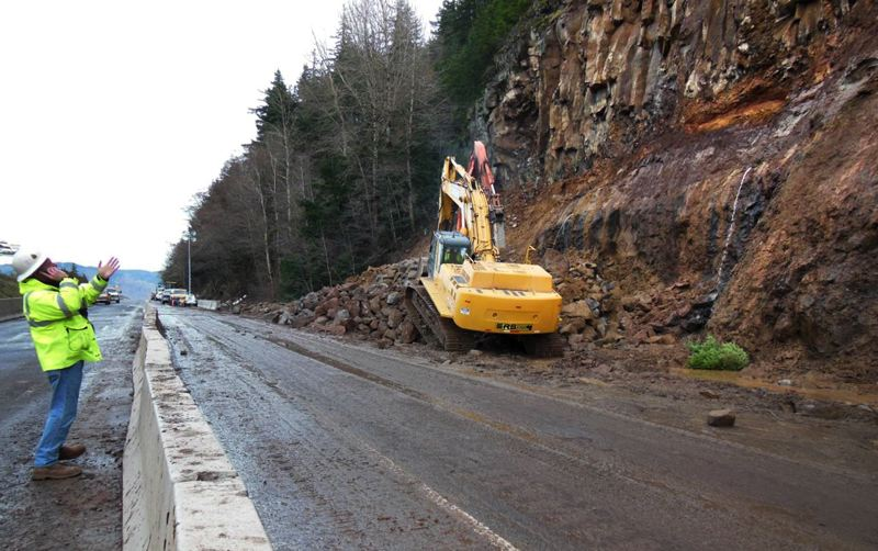 by: PHOTO COURTESY: OREGON DEPARTMENT OF TRANSPORTATION - Sunday afternoon, crews cleared remnants of a landslide on Interstate 84 at milepost 61.5 near Hood River.