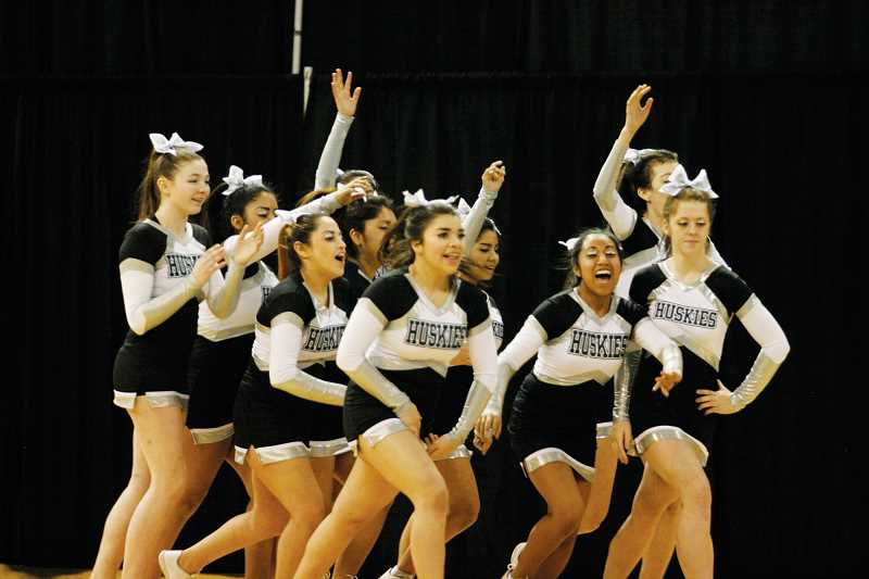 by: PHIL HAWKINS - North Marion cheer at the OSAA State Championships in Portland on Saturday.