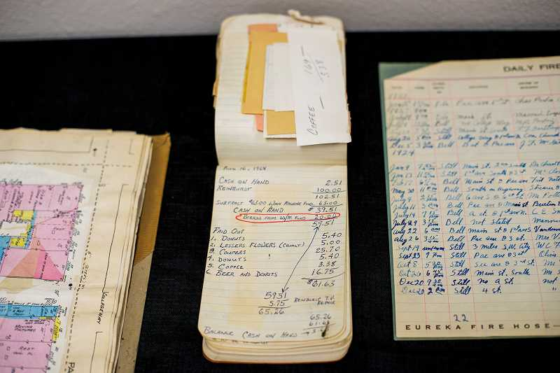 On Aug. 16, 1968, the firefighters association spent some cash on donuts, flowers, coffee -- and beer, according toledgers and receipt books. Beer was rationed out after volunteer drill nights into the late 1980s, said Fire Marshal Dave Nemeyer.