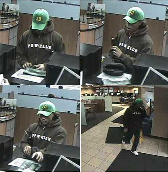 by: SUBMITTED PHOTOS - Lake Oswego police are looking for a bank robber who stole an undisclosed amount of cash from the Chase Bank on South State Street Tuesday afternoon.