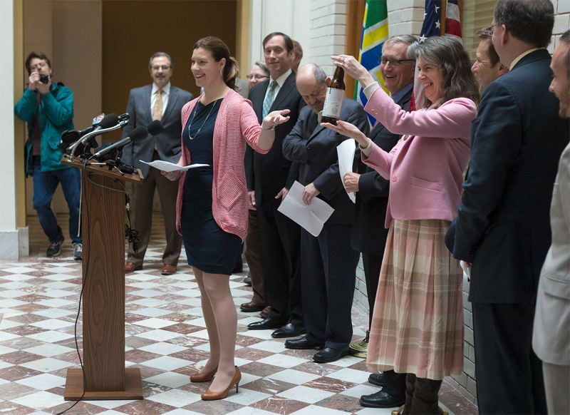by: TRIBUNE PHOTO: JONATHAN HOUSE - Google Public Affairs Officer Darcy Nothnagle told reporters during a Portland City Hall press conference that Google was interested in building a high-speed fiber-optic system in the Rose City.