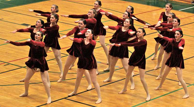 by: REVIEW PHOTO: J. BRIAN MONIHAN - Lakeridge's dance team was among about 20 elite dance groups participating at a state competition this weekend in Portland.