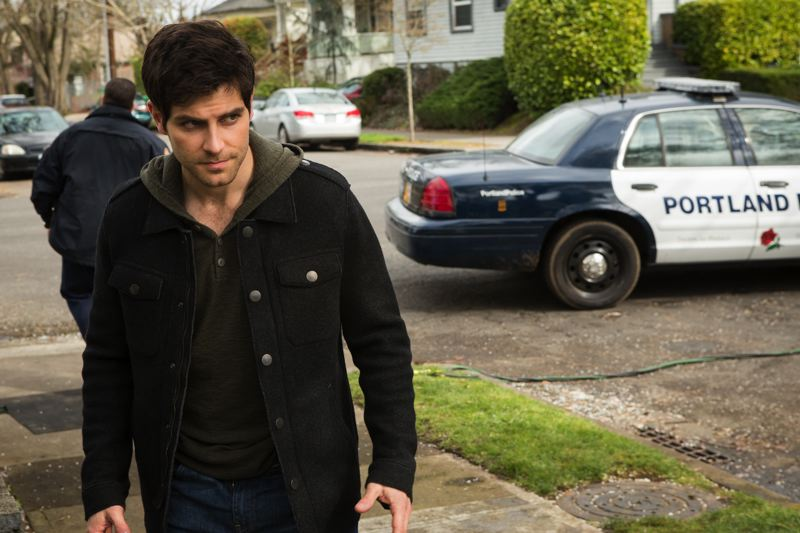 by: COURETSY OF SCOTT GREEN/NBC - Thats a real Portland police car behind Grimm actor David Giuntoli. When it comes time to knock down a door or make an arrest, Portland police are often used as consultants. Local cops say they sometimes watch the show just to see familiar faces and places, and for an escape from reality.