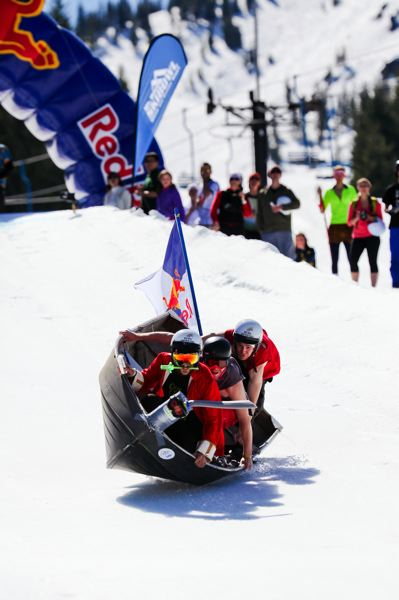 by: COURTESY OF KAITLIN EMMERLING - More than 20 teams of crafty sledders tackled Mt. Hood Skibowl in Red Bull Schlittentag last year. As many as 40 teams will be allowed to compete March 29 in the second Skibowl Schlittentag.
