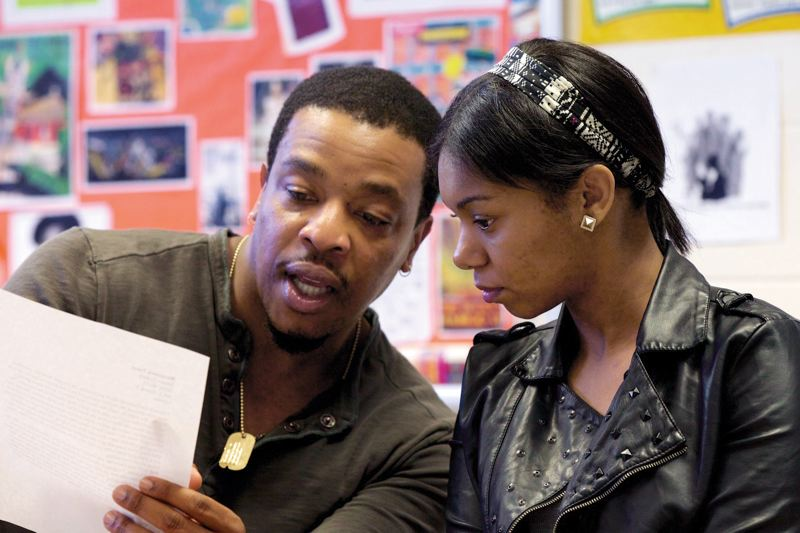 by: COURTESY OF RED DOOR PROJECT - Grimm star Russell Hornsby works with Grant High sophomore Marquasia Trent, one of 16 regional finalists in the August Wilson Monologue Competition, set for March 3 at Gerding Theater.