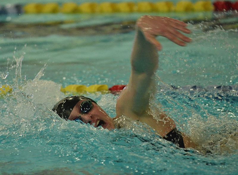 by: VERN UYETAKE - The Pacers' Keaton Blovad took second in the 50 freestyle at last week's district meet.