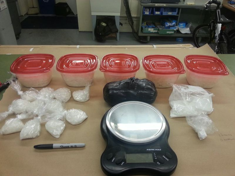 by: PHOTO COURTESY: CCSO - Methamphetamine, heroin and cocaine seized from a storage locker in Milwaukie tied to former CCSO detective William Floyd Marsh, Jr., and his alleged accomplice Gerald Matthew Wiese.
