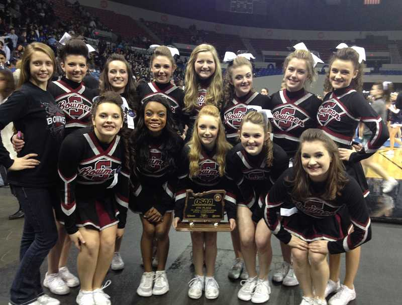 by: SUBMITTED PHOTO - The Sherwood High School Bowmen cheerleaders made an impressive showing Feb. 15 at Veterans Memorial Colesium. The girls, lead by head coach Patty Mack, placed fourth in the OSAA State Championships in the 5A Small Division.
