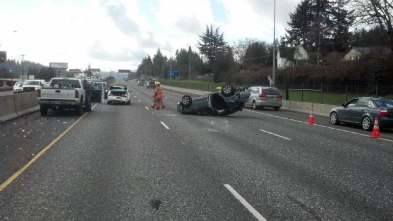 by: PHOTO COURTESY: OREGON STATE POLICE - Friday morning's three vehicle traffic crash is caused by a loose dog in the southbound lanes of Interstate 205 in the Clackamas area.