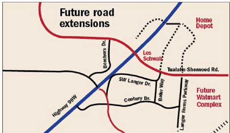 by: ILLUSTRATION BY DENISE SZOTT - The dotted lines north of Tualatin-Sherwood Road represent the future extension of Langer Farms Parkway and Baler Way. Private developers would have to pick up the tabs for constructing those future roadways when they are eventually developed.