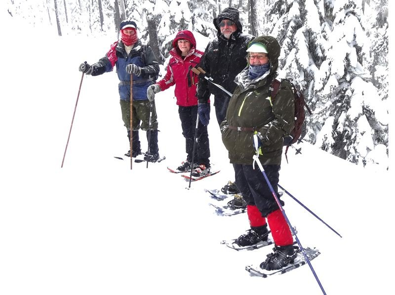 by: PHOTOS: RON JANZEN/SENIOR HEALTHY HIKERS - Members of Senior Healthy Hikers brave the winter storm for a Feb. 6 snowshoe trek to Bennett Pass near Mount Hood. From left: Howard Berg, Margie Henrikson, John Helus and Maxine Gordon.
