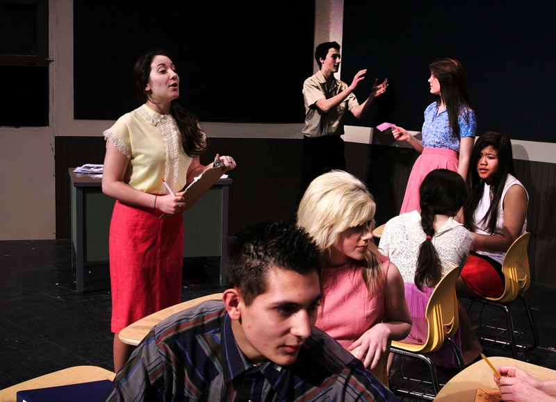 by: OUTLOOK PHOTO: JIM CLARK - Senior Tabitha Card plays the lead teacher, Sylvia Barrett, in the play about an idealistic young teacher thrust into an inner-city school during the 1960s.