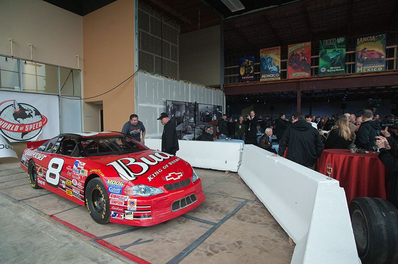 by: SPOKESMAN PHOTO: JOSH KULLA - A stock car once driven by Dale Earnhardt Jr. was part of the groundbreaking celebration Feb. 18 last Tuesday at the World of Speed motor sports museum in Wilsonville.