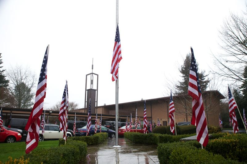 by: TIMES PHOTO: JAIME VALDEZ - Oregon Gov. John Kitzhaber ordered American flags to be flown at half staff on Monday in honor of the life and service of U.S. Army Spc. John A. Pelham.