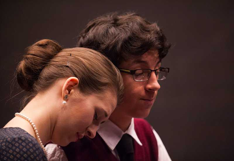 by: SPOKESMAN PHOTO: JOSH KULLA - Senior Delane Cunningham plays Mrs. Frank and junior Cameron Worth plays Mr. Frank in the WHS production of The Diary of Anne Frank.