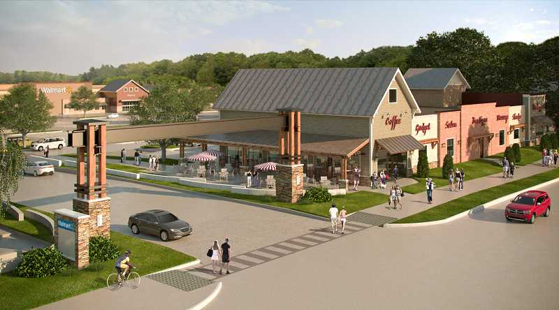 by: COURTESY OF GRAMOR DEVELOPMENT - Chipotle Mexican Grill plans on locating in the Parkway Village at Sherwood complex, where Walmart will be the anchor store. The national chain will open in the space marked 'coffee' in this illustration, just to the right of the main archway here on Langer Farms Parkway.