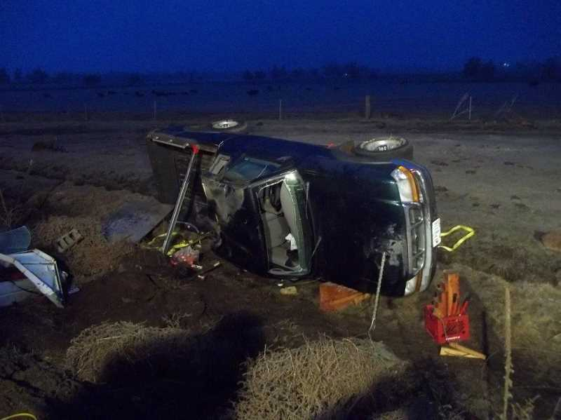 by: PHOTO COURTESY OF CROOK COUNTY SHERIFF'S OFFICE - Aumsville, Ore. resident lost control of his Ford Ranger pickup on Highway 126.