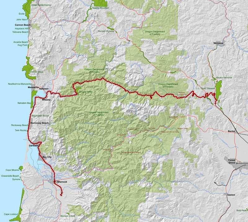 by: COURTESY PHOTO: OREGON DEPARTMENT OF FORESTRY - This map shows the Salmonberry Corridor, which is proposed to be turned into a trail. The corridor follows a railroad line that has been effectively out of service since 2007.