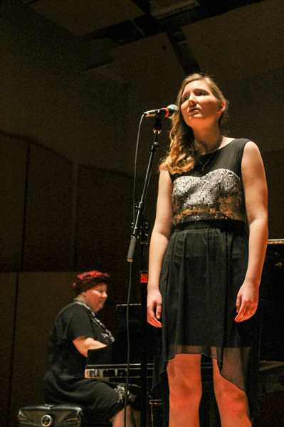 by: NEWS-TIMES PHOTO: JOHN SCHRAG - Sarah Hampton, a sophomore at Forest Grove High School, sings 'I Dreamed a Dream' from 'Les Miserables,' accompanied by her mother, Alisa Hampton, an Intel employee and pianist.