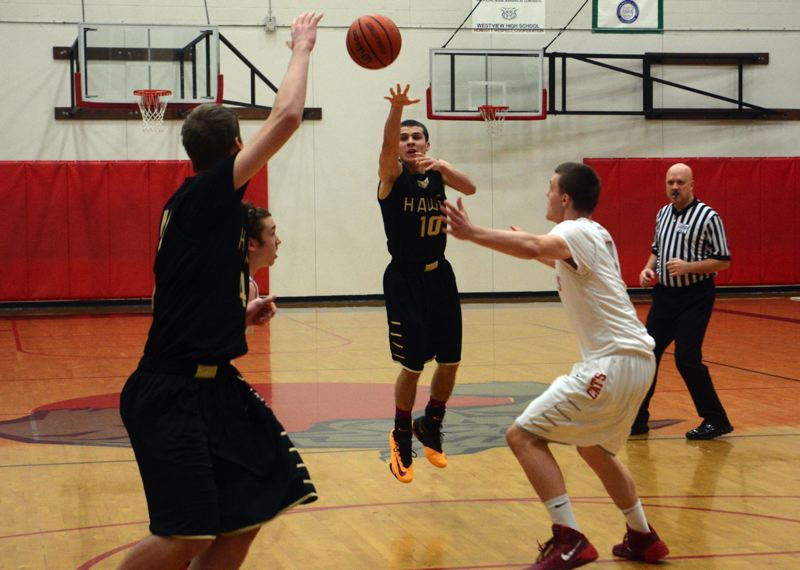 by: TIMES PHOTO: MATT SINGLEDECKER - Southridge senior point guard AJ Monterossi passes to senior post Griff Christiansen for a pick-and-roll basket. Monterossi had 19 points and four assists.
