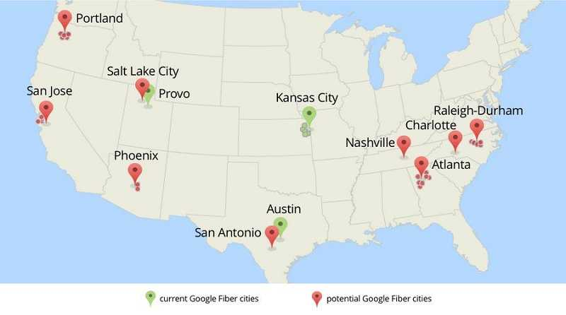 Google Fiber has named nine metro areas across the nation to possibly bring ulta-highspeed Internet by 2015.
